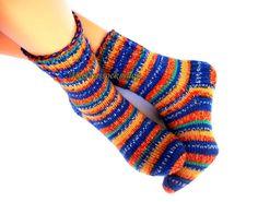 Hand knitted socks Warm wool socks Winter socks from sock yarn Women's socks Multicolor bright striped socks Men's winter socks Girl's socks