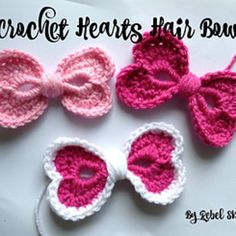 Crochet Me Lovely - Hearts Hair Bow pattern by Katrina Payne