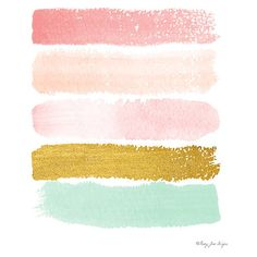 Pink, Gold, & Seafoam Green Paint Strokes Digital Print | Gold and... (6.76 AUD) ❤ liked on Polyvore