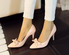 2015 Women Sexy Patent Leather Slip on Bowknot Pointed Toe Pump High Heel Shoes