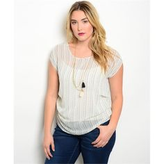 FINAL SALE White Green Plus Size Top Short sleeve top features striped print and has a keyhole back. 100% polyester. Tops Blouses