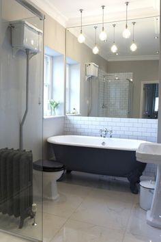 En-suite - métro tiles, roll top bath, matki shower, lefroy brooks taps, urban cottage industries lights, traditional style, Babington House style bathroom.