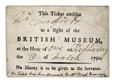1790  3rd March  Ticket to the British Museum, London, UK.   retronaut.com  suzilove.com