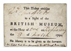 1790  3rd March  Ticket to the British Museum, London, UK.   retronaut.com  suzilove.com
