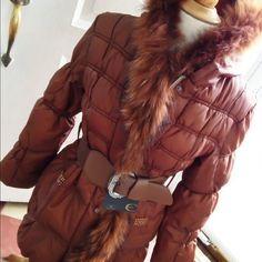 Just Cavalli Puff Coat Just Cavelli Puff Coat. Real fox trim. Belt with rhinestone accents.  NEW Just Cavalli Jackets & Coats Puffers