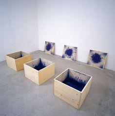 Roman Signer 3 blaue Kisten, 2008 Wood, blue paint, explosion each 60 x 60 x 42 cm