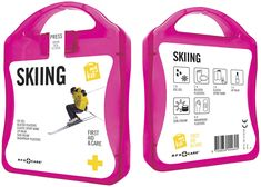 MyKit Skiing first aid kit. Ideal kit for every ski trip. Be prepared for the slopes with this kit that helps you treat small injuries and offers sun protection. Content: 1 ice gel, 2 blister plasters, 1 elastic sport bandage, 1 lip balm, 1 sun cream, 6 wash proof plasters. All of the first aid and care products within the kit meet all applicable EU regulations.