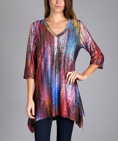 Look what I found on #zulily! Burgundy & Blue Abstract Tunic - Plus Too #zulilyfinds