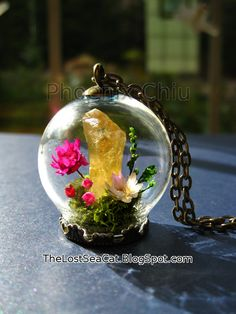 November birthstone Terrarium necklace Daisy by phoenixchiu