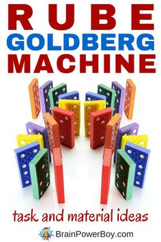 Build your own Rube Goldberg Machine™! Use this great list of task ideas to choose the type of machine you want to build, gather some of the materials on our big list and make your own machine. Super fun learning opportunities throughout the whole process. Click to get the lists.