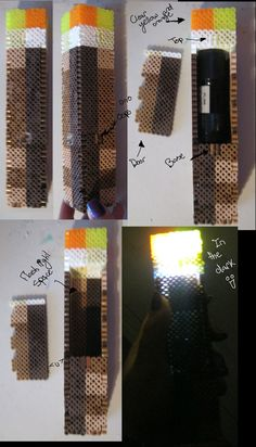 3d minecraft perler bead patterns | Perler bead 3-D Minecraft torch by Ritalabella