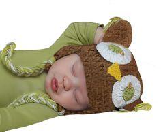 Melondipity Brown Sweet Crochet Owl Baby Hat 0-12 months. Handmade. 100% Cotton. 0- 12 months size.