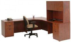 Cherry Corner Desk with Locking Drawers and Hutch