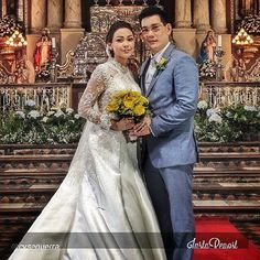 Richard Yap And Jodi Santamaria Be Careful With My Heart.Wedding Gowns With Sleeves. Wedding Of The Year, Wedding Gowns With Sleeves, Bridesmaid Dresses, Wedding Dresses, Perfect Wedding, Veil, Platform, Couples, Heart