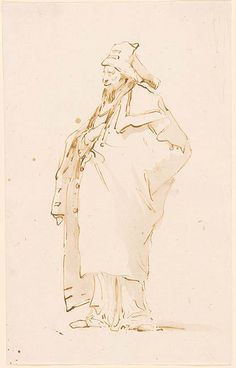 A Bearded Oriental With His Right Hand Across His Chest. Giovanni Battista Tiepolo 1696-1770