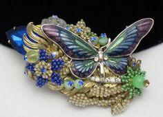 STANLEY HAGLER Figural Butterfly Brooch Beaded Rhinestone Enamel