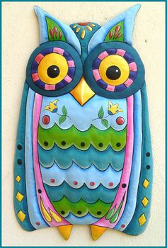 Painted Metal Owl Wall Hanging, Aqua Owl Decor, Whimsical Art Design, Owl Art…