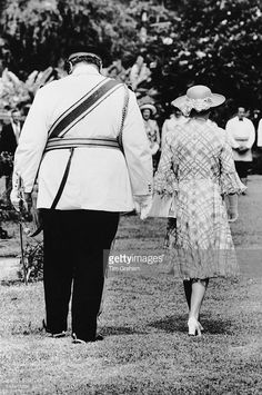 Queen Elizabeth II with King Taufa'ahau Tupou IV of Tonga, in Tonga during her Jubilee Tour, February 1977.
