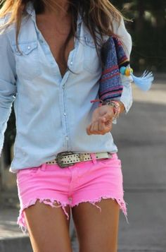 Denim Shirt and pink shorts