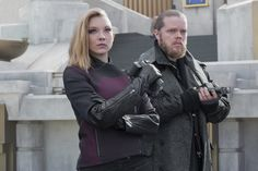 Official still image of Natalie Dormer as Cressida and Elden Henson as Pollux in #TheHungerGames #MockingjayPart2