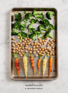 A fast and healthy dinner: roasted broccoli bowls with carrots and chickpeas.
