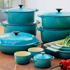 These can be found at Winners! Possibly Walmart of Cdn. Tire too  Turquoise pots & pans