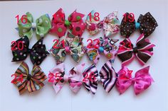 Boutique Style Baby Toddler 3 inch Hair Bows -- set of 2 -- You Choose Ribbon Patterns