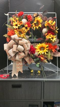 New Fall Sunflower and Ribbon wreath...Robin Evans