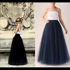 Black tulle maxi skirt Worn once, super fluffy very pretty black tulle floor length Skirts Maxi