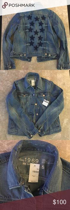 Brand New GAP Jean Jacket One of a kind GAP denim jacket. Size: regular Small. The jacket has star patches on the back. Definitely a statement piece! GAP Jackets & Coats Jean Jackets