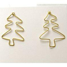 Tree Outline Earrings (Brass)