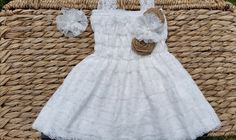 Rustic Flower Girl Dress White Lace Flower от CountryCoutureCo