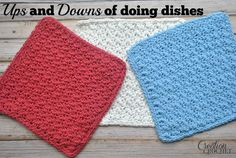 This free crochet dish cloth pattern features the fun up and down stitch. It is simple to make and works great in the kitchen.