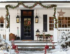 A Pottery Barn Christmas Porch Christmas Time Is Here, Christmas Porch, Noel Christmas, Outdoor Christmas Decorations, Country Christmas, All Things Christmas, Winter Christmas, Christmas Ideas, Christmas Scenes