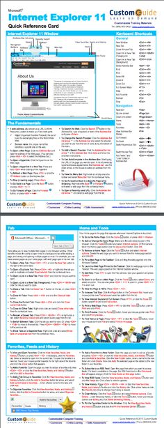 Internet Explorer 11 Quick Reference Card. http://www.customguide.com/cheat_sheets/ie-11-quick-reference.pdf