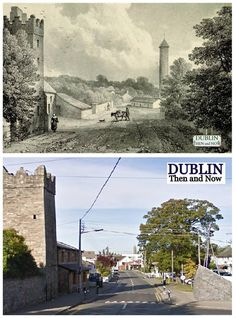 Clondalkin then and now Ireland Pictures, Old Pictures, Old Photos, Vintage Photos, Photo Engraving, Dublin City, Irish Eyes, Yesterday And Today, Dublin Ireland
