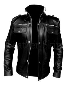 Clothes Mens Black - Leather Skin Men Black Genuine Leather Jacket with Front Chest Pockets. Best Leather Jackets, Leather Jacket Outfits, Men's Leather Jacket, Leather Skin, Black Leather, Leather Fashion, Mens Fashion, Style Masculin, Slim Fit Jackets