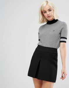 Shop Fred Perry Houndstooth Knit Jumper at ASOS. Fred Perry, Jumpers For Women, Cardigans For Women, Football Casual Clothing, Mod Look, Mod Girl, Asos, Black Sweaters, Black Jumper