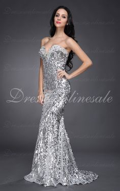 Silver Mermaid Floor-length Sweetheart Evening Dress/Prom Dress 2013 New Arrival