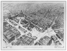 Otto Wagner, Stadtsmuseum, aerial view: showing how Wagner's building is seen as an integral urban element, one that helps complete and define the plan for the area around the Karlskirche