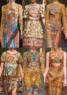 Milan Fashion Week-Dolce & Gabbana A/W 2013/14-Mosaic Pictorial Prints – Fresco Inspirations – Over-scaled Imagery – Bejewelled Craftsmanship – Venetian and Byzantine References – Art Canvas Inspired Designs