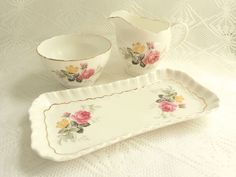 Vintage Adderley Cream Sugar Bowl Plate Set Yellow Pink Roses 1950s