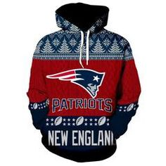 New England Patriots Hoodie Christmas Edition NFL Professional National Football League team Sweat shirt Cool Hoodies, Cool T Shirts, All Nfl Teams, New York Jets, National Football League, New England Patriots, American Football, Men Casual, Pullover