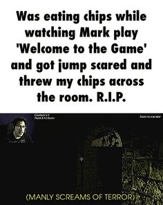 Was eating chips while watching Mark play 'Welcome to the Game' and got jump scared and threw my chips across the room. R.I.P. GIF