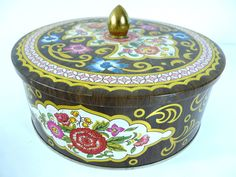 Vintage Round Tin Container Daher Designed Made In England Brown Floral