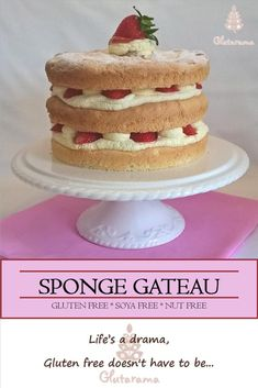 Sponge Gateau, dairy free and gluten free sponge (can be made with dairy free whipped coconut cream.