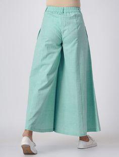 Turquoise Elasticated Waist Khadi Pants Sewing Collars, Fashion Pants, Fashion Outfits, Designer Punjabi Suits, Wide Pants, Pants For Women, Clothes For Women, Skirt Pants, Palazzo Pants