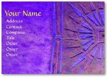 MORNING STAR MONOGRAM BUSINESS CARDS :Symbol of the sacred Morning Star of Pawnee tribe bearer of well-being . Blue Purple colors.