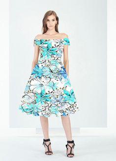 Vintage Boat Neck White Floral Retro Hepburn Style 50's Dress