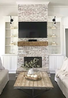 Painting Old Brick Fireplace | Brick Anew blog White Wash Brick Fireplace, Brick Fireplace Makeover, Farmhouse Fireplace, Home Fireplace, Living Room With Fireplace, Fireplace Design, Fireplace Ideas, Rustic Farmhouse, Brick Fireplace Remodel